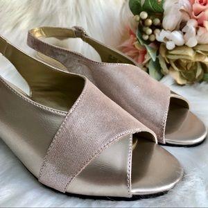 Hush Puppies Pink Metallic Slingback Comfort Heels